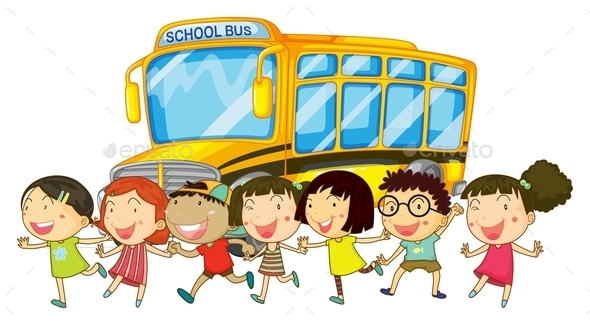 Students and School Bus - People Characters