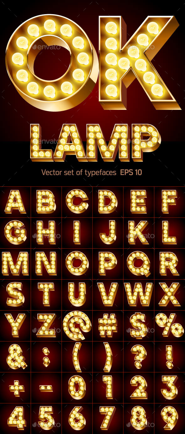 Gold Lamp Font - Decorative Symbols Decorative