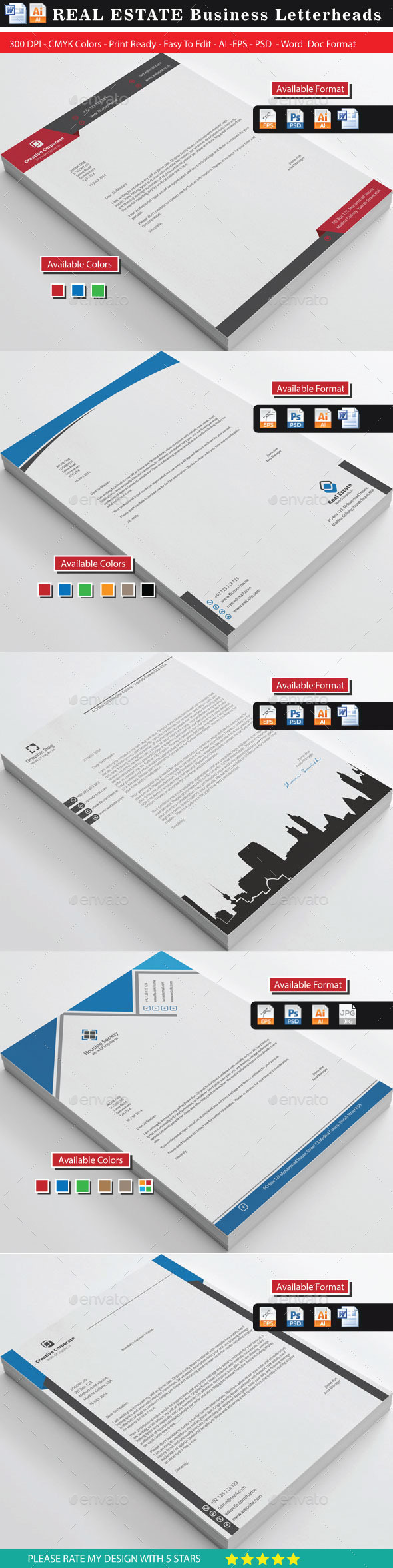 Real Estate Letterheads Bundle - Stationery Print Templates