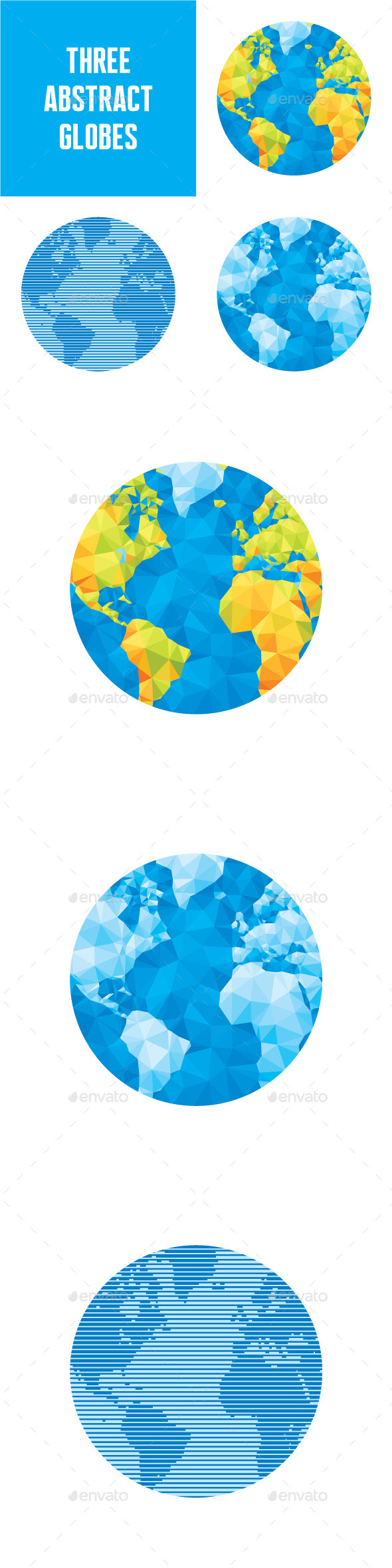 3 Abstract Vector Globes Illustrations - Travel Conceptual