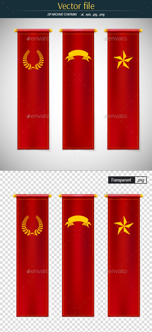Red Vertical Flags with Emblems - Objects Vectors