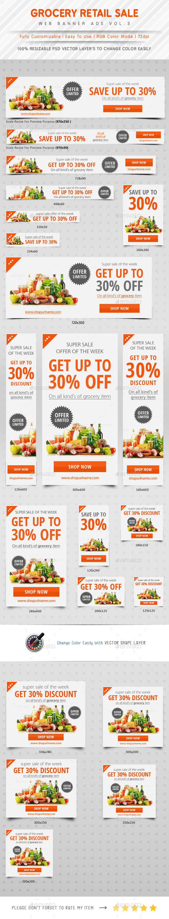 Grocery Retail Sale Web Banner Ads - Banners & Ads Web Elements