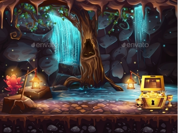 Fantasy Cave with a Waterfall - Conceptual Vectors