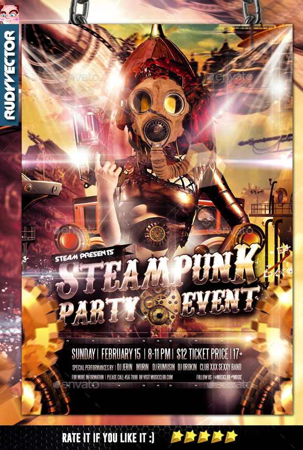 Steampunk Party Flyer Template - Clubs & Parties Events