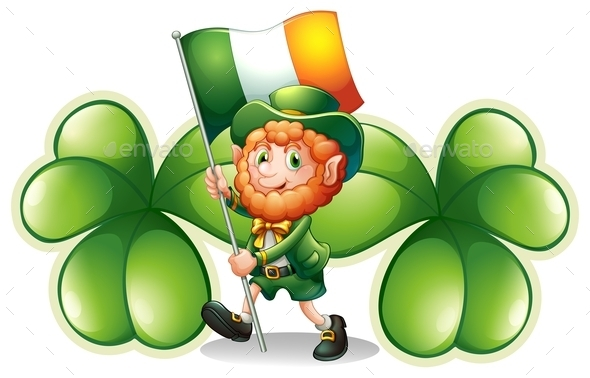 Man with a Flag and Clovers - People Characters