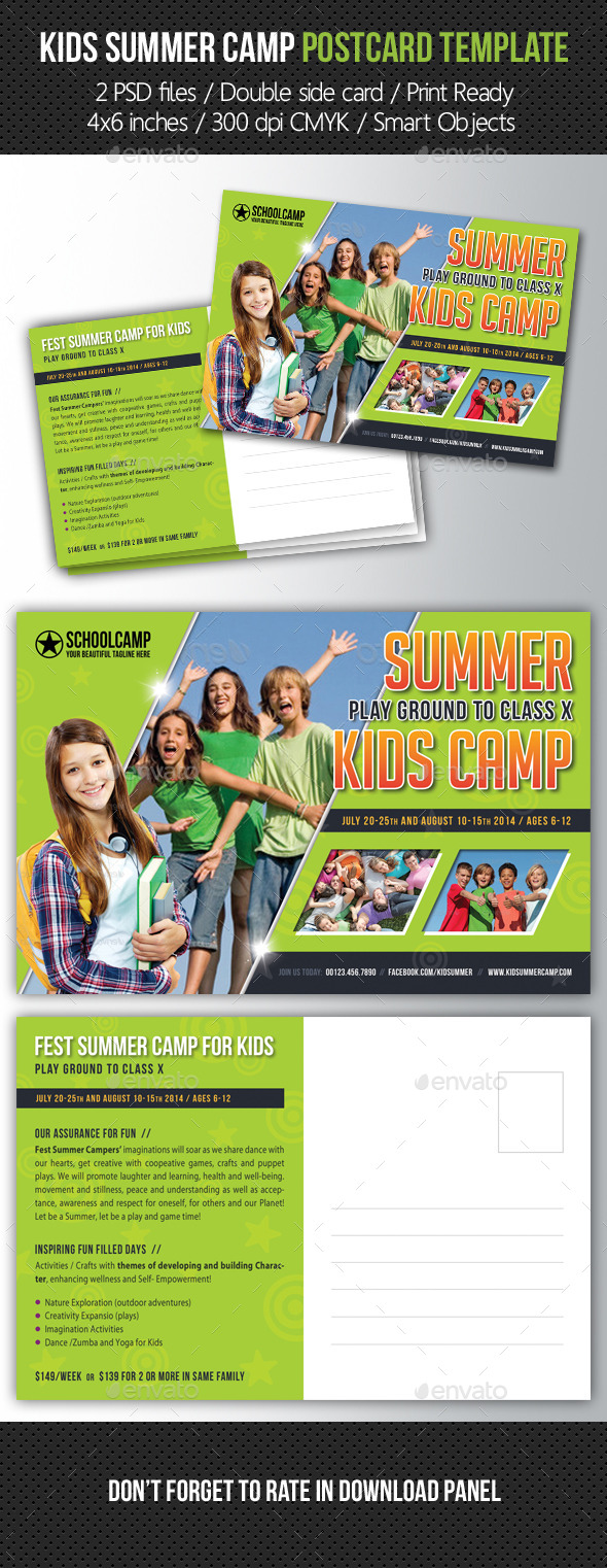 Kids Summer Camp Postcard Template - Cards & Invites Print Templates