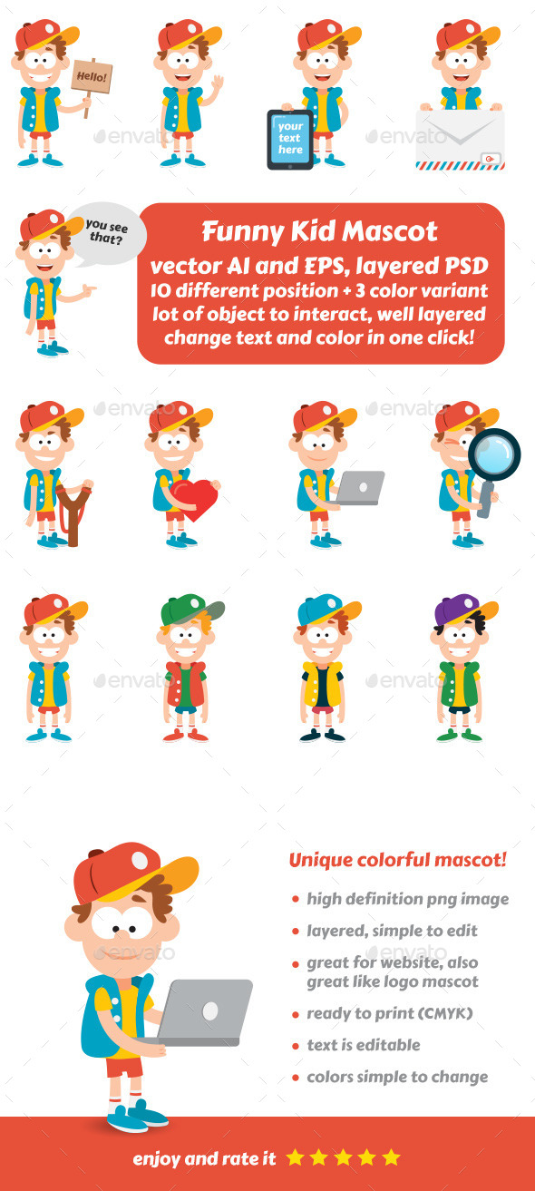 Funny Kid Mascot - People Characters