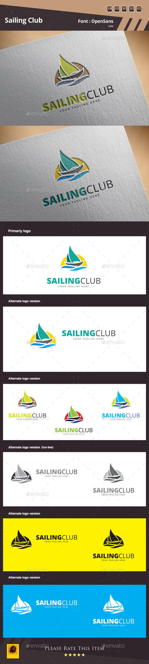 Sailing Club Logo Template - Objects Logo Templates