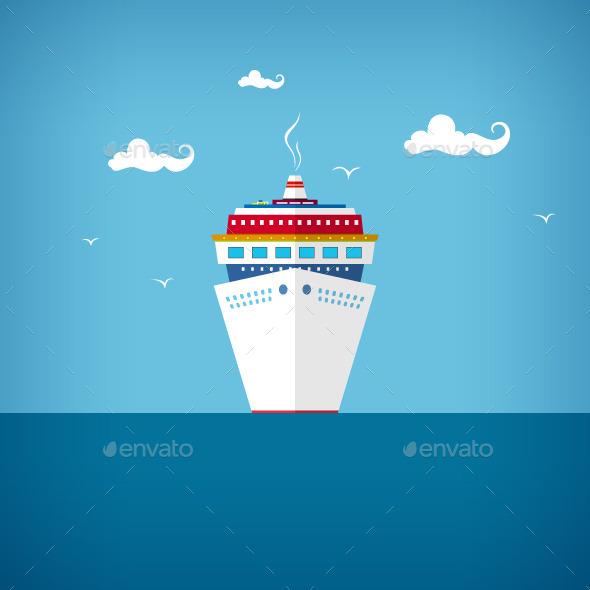 Cruise Ship at Sea - Travel Conceptual