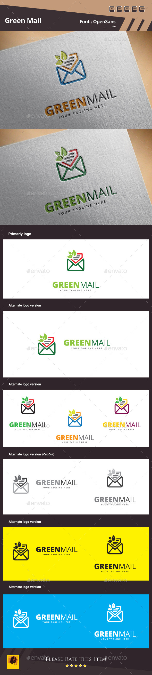 Green Mail Logo Template - Symbols Logo Templates