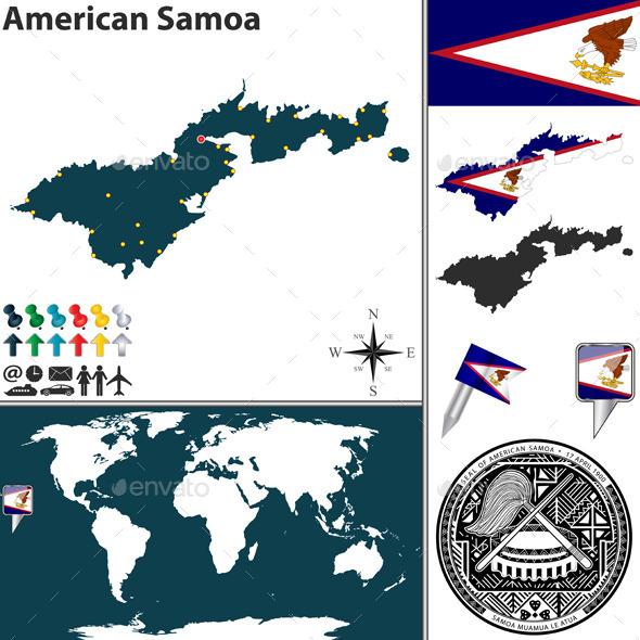 Map of American Samoa - Travel Conceptual