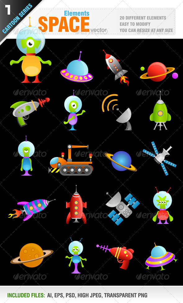 Cartoon Space Elements - Characters Vectors
