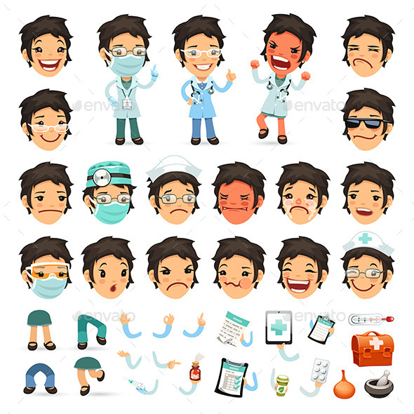 Set of Cartoon Woman Doctor Characters - Health/Medicine Conceptual