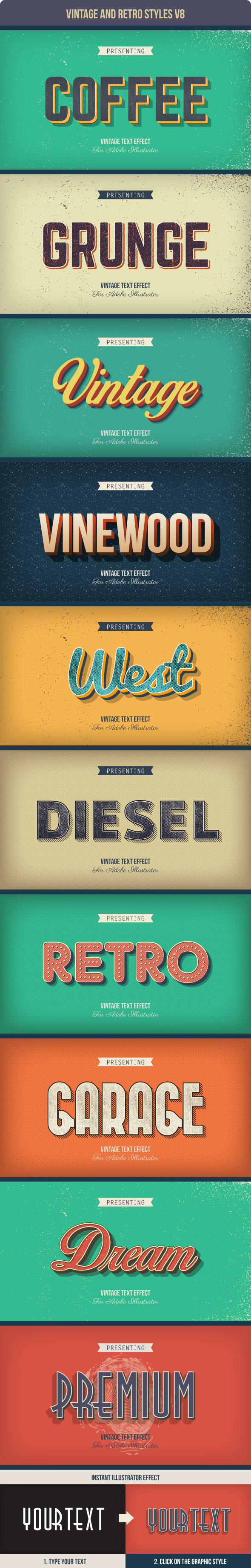Vintage and Retro Styles V8 - Styles Illustrator