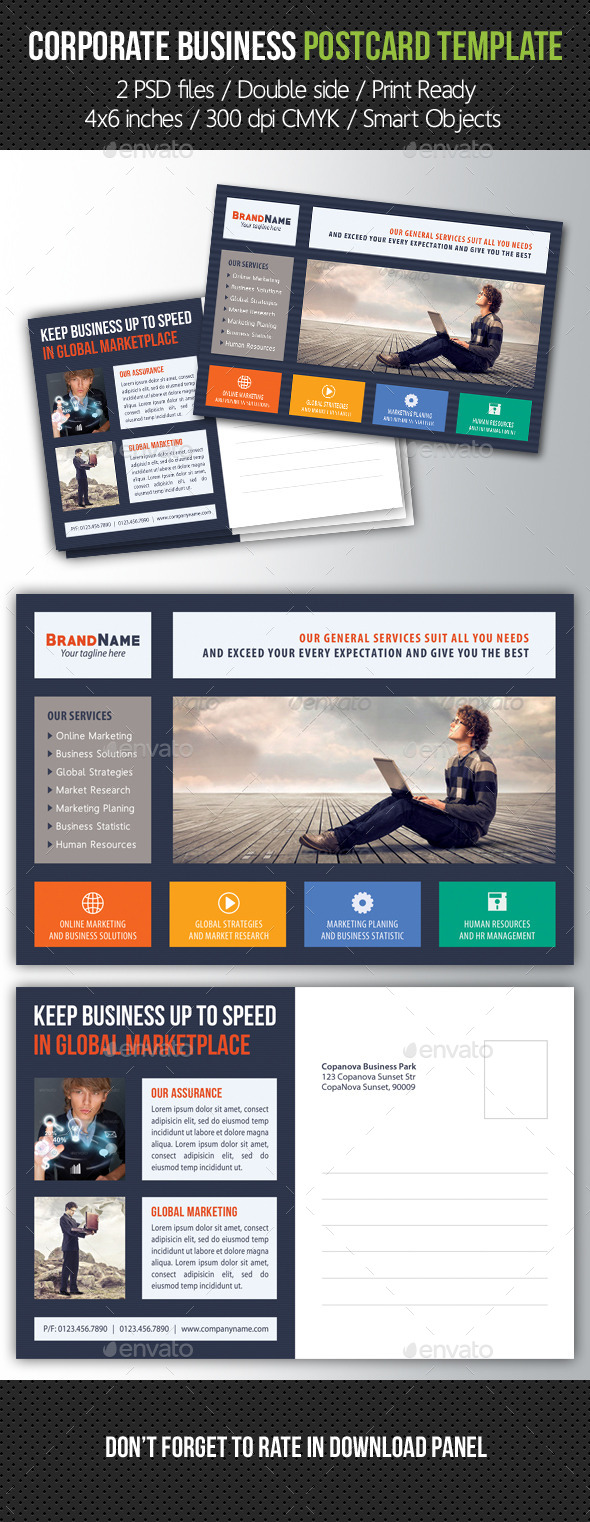 Corporate Business Postcard Template V06 - Cards & Invites Print Templates
