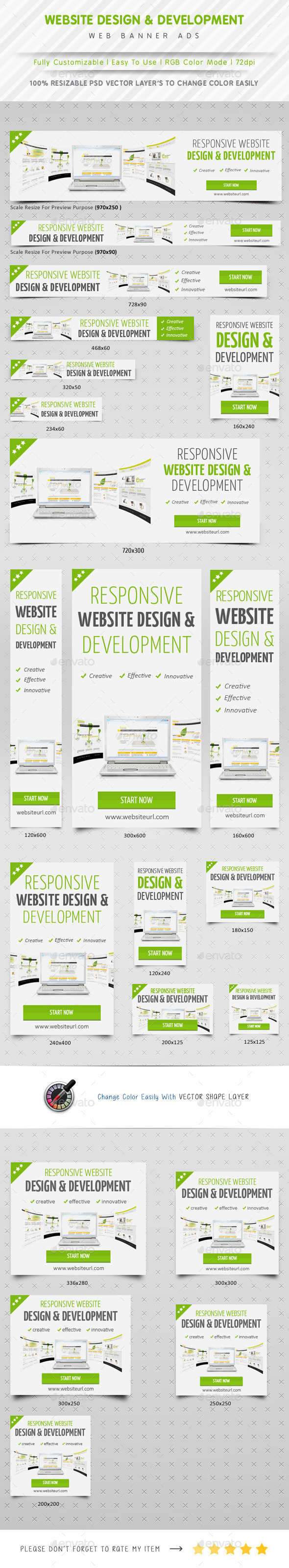 Website Design & Development Banner Ads - Banners & Ads Web Elements