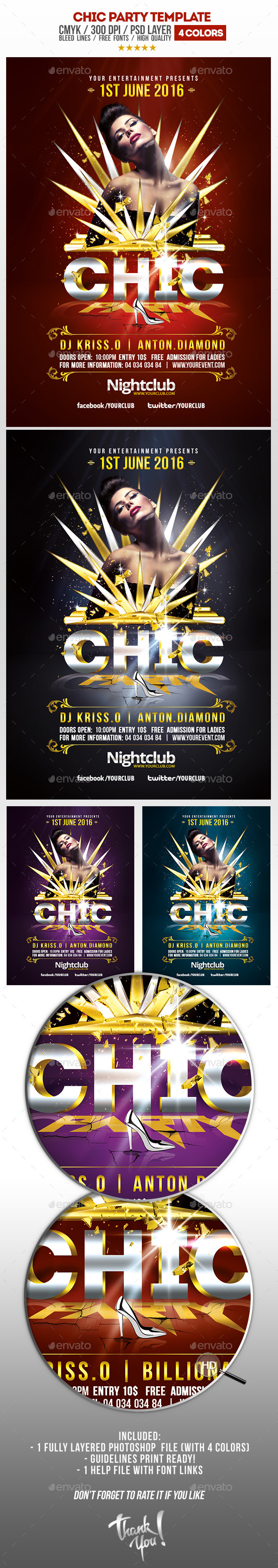 Chic Party Psd Flyer Template - Clubs & Parties Events