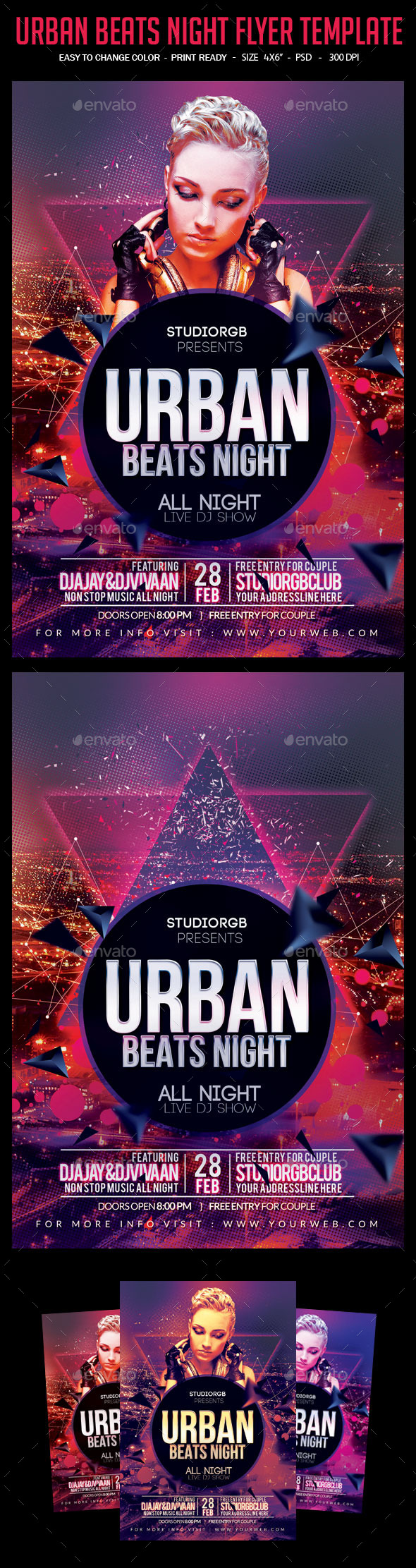 Urban Beats Night Flyer Template - Clubs & Parties Events