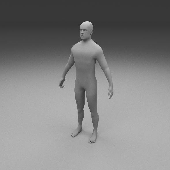 Human Male Clay Model - 3DOcean Item for Sale