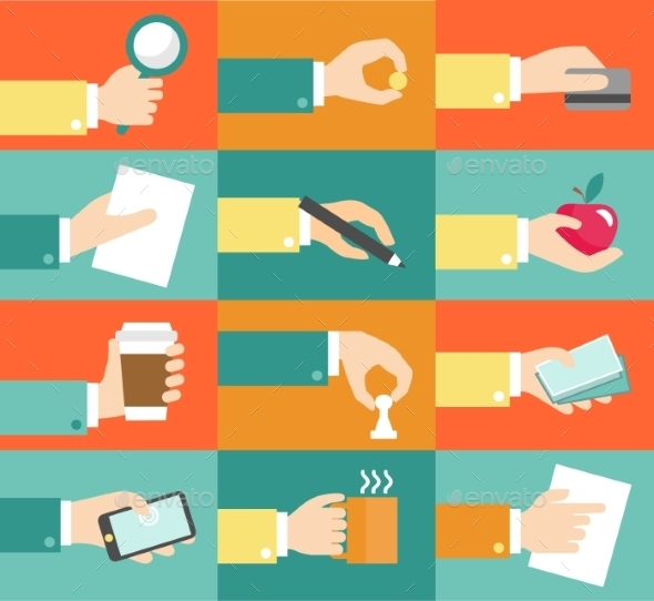Business Hand Icons - Web Technology