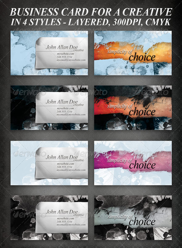 Business Design set, in 4 different styles - Grunge Business Cards