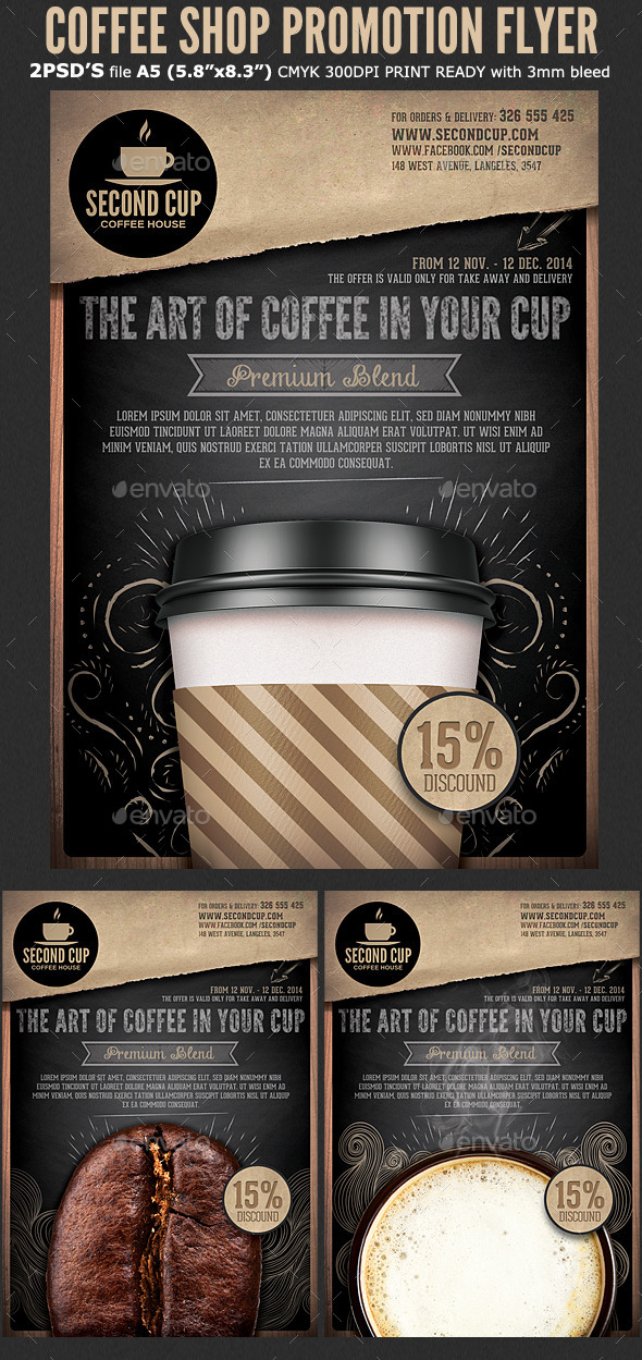coffee shop promotion flyer template by hotpin graphicriver. Black Bedroom Furniture Sets. Home Design Ideas