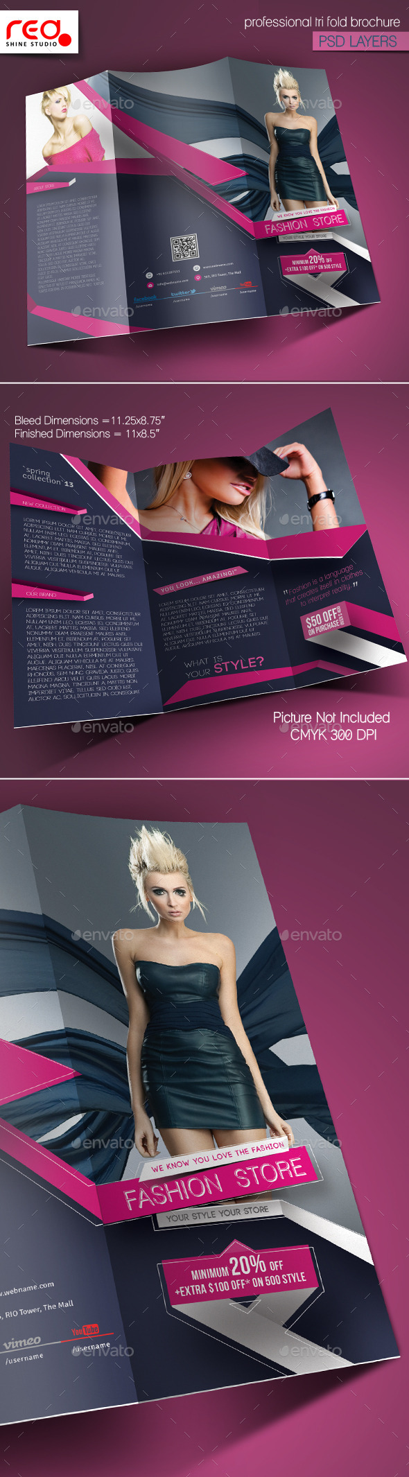 Fashion Store Trifold Brochure Template - Catalogs Brochures