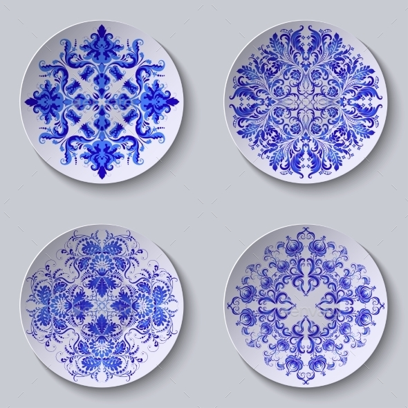 Set of Floral Circular Plates - Patterns Decorative