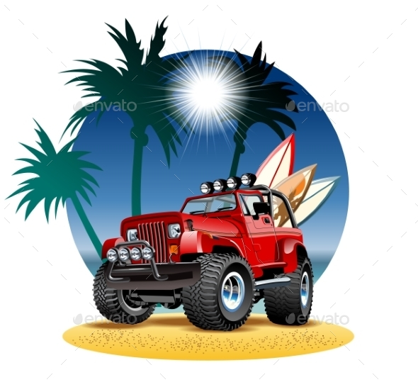 Cartoon 4x4 Car on Beach - Man-made Objects Objects