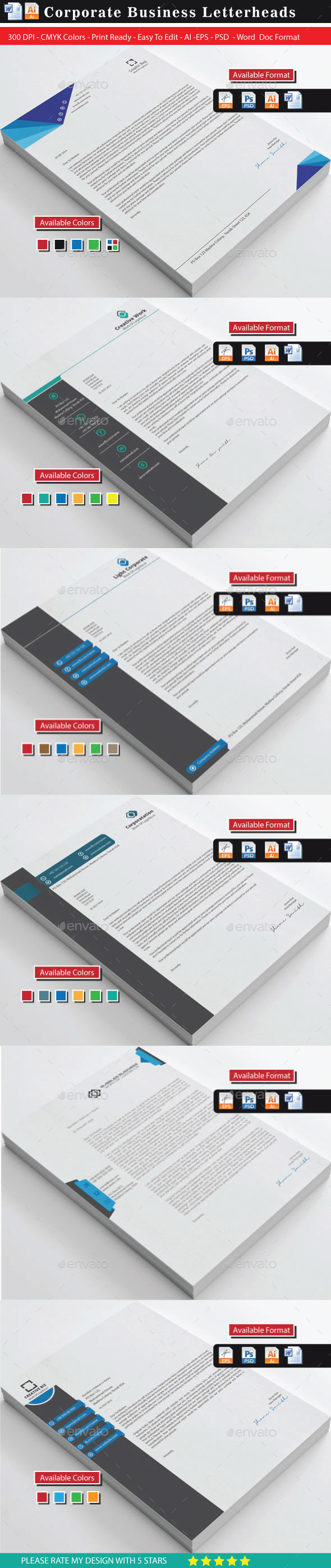 Modern & Creative Letterheads Bundle - Stationery Print Templates