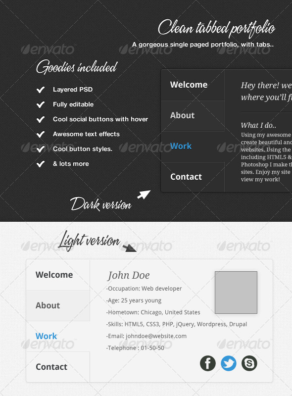 Clean Tabbed Portfolio - Miscellaneous Web Elements