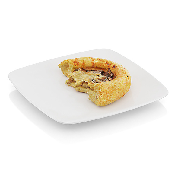 Bitten bread with mushrooms and cheese - 3DOcean Item for Sale