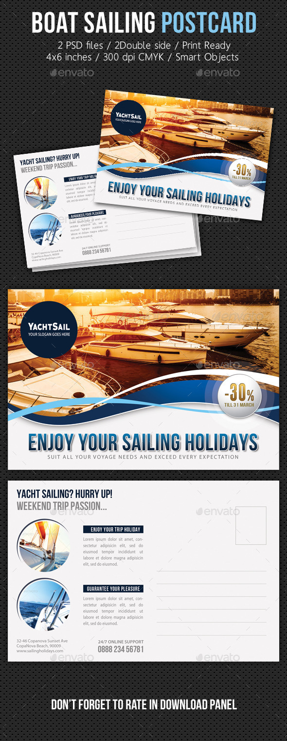 Boat Sailing Postcard Template V01 - Cards & Invites Print Templates