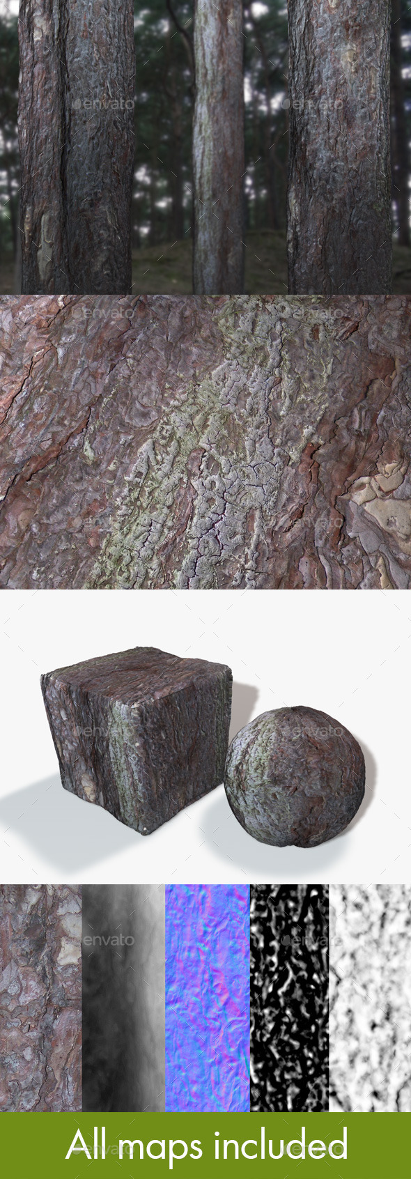 Seamless Tree Bark - 3DOcean Item for Sale