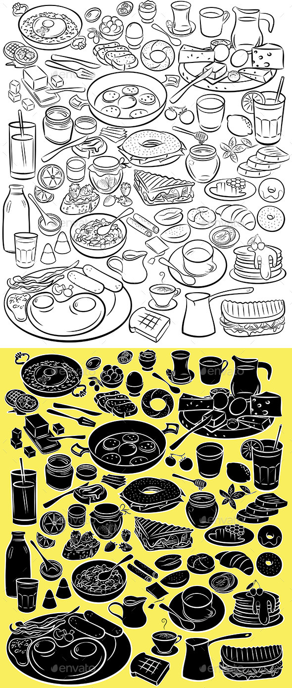 Breakfast Set - Food Objects