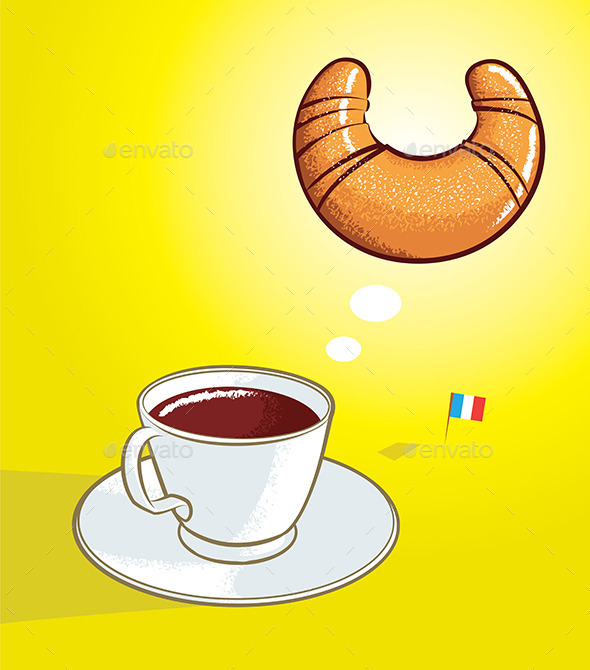 Coffee and Croissant - Food Objects