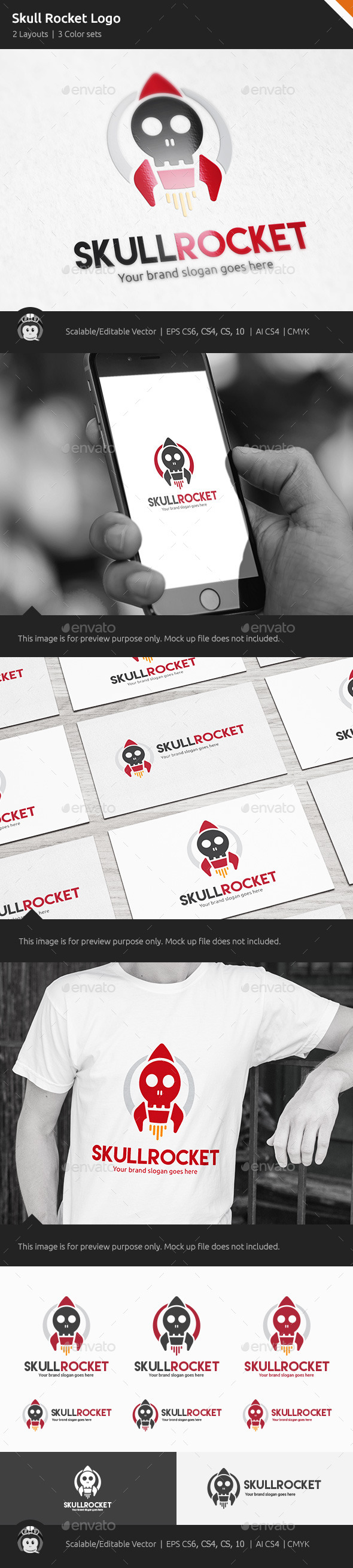 Skull Rocket Logo - Objects Logo Templates