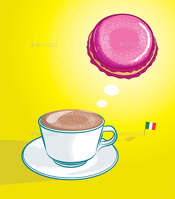 Cappuccino and Macaron - Food Objects