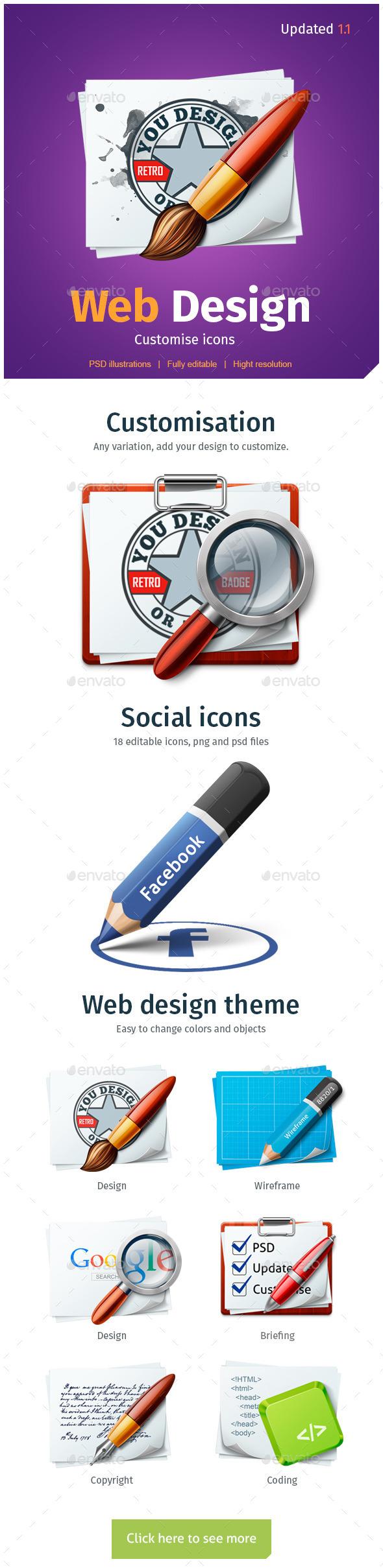 WEB Design customize icons - Web Icons