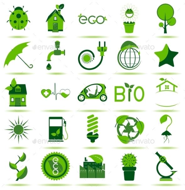 Green Eco Icons 3 - Web Elements Vectors