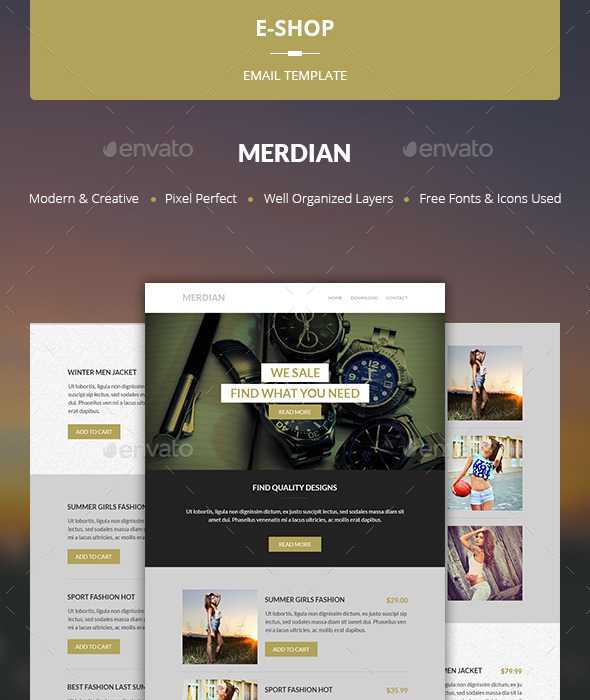 Merdian - E-shop Template - E-newsletters Web Elements