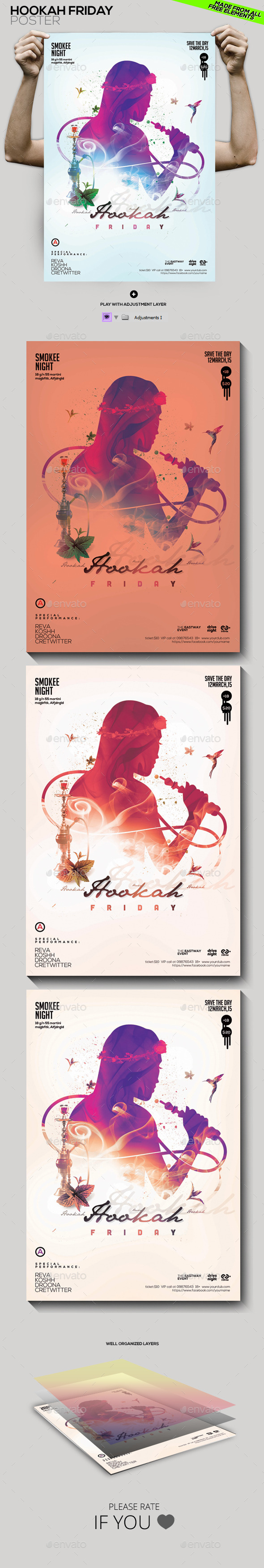 Hookah Friday Party Flyer/Poster - Clubs & Parties Events