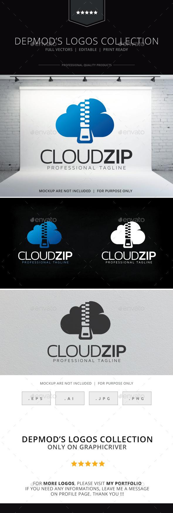 Cloud Zip Logo - Symbols Logo Templates