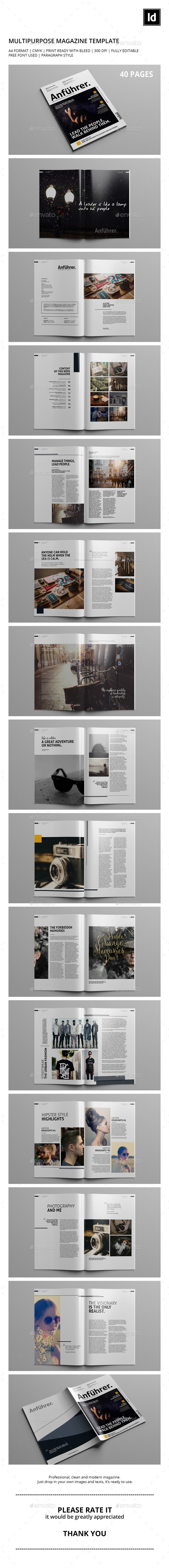 40 Pages | Multipurpose Magazine Template - Magazines Print Templates