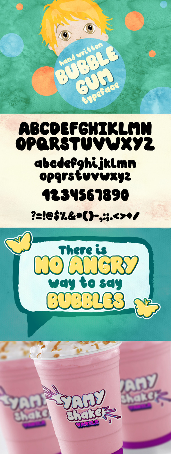 Bubble Gum - hand written font - Handwriting Fonts