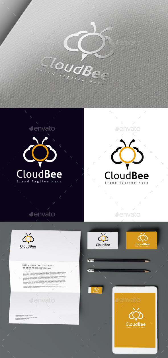 Bee Cloud - Symbols Logo Templates
