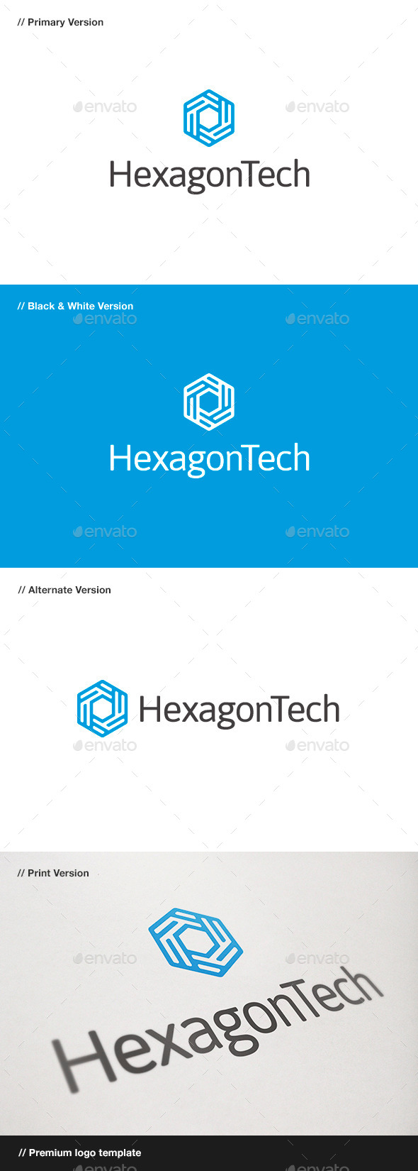 Hexagon Tech Logo - Abstract Logo Templates