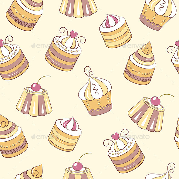 Cupcakes Seamless Pattern - Patterns Decorative