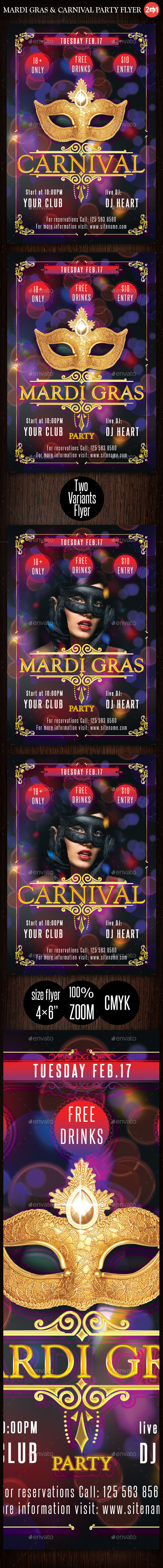 Mardi Gras & Carnival Party Flyer - Clubs & Parties Events