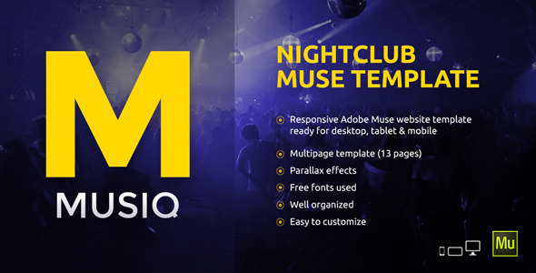 Musiq – Nightclub Website Muse Template
